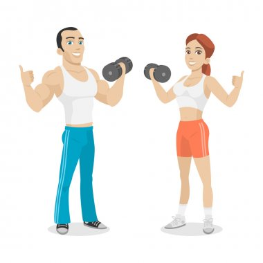 Guy and girl hold in dumbbell hand
