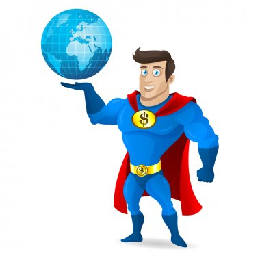 Superhero holds planet earth