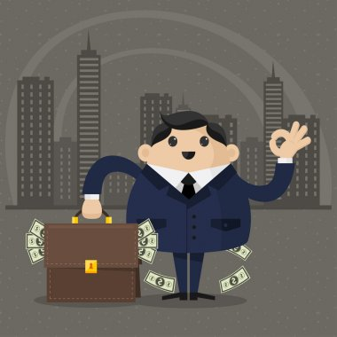Businessman holds a suitcase with money