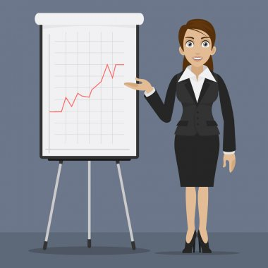 Businesswoman specifies on flipchart