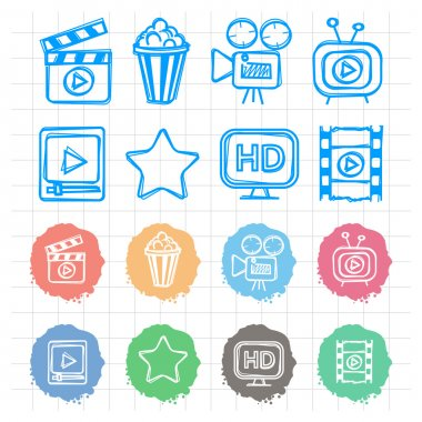Icons set cinema doodles