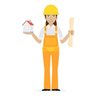 Builder woman keeps house