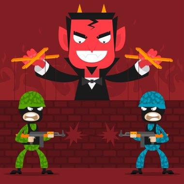 Devil controls soldiers puppets