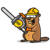 Photo Beaver holds chainsaw