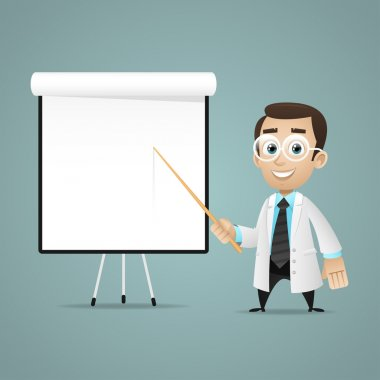 Illustration, young scientists points on flipchart, format EPS 10 stock vector