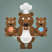 Fotografie Concept chef bear with cubs