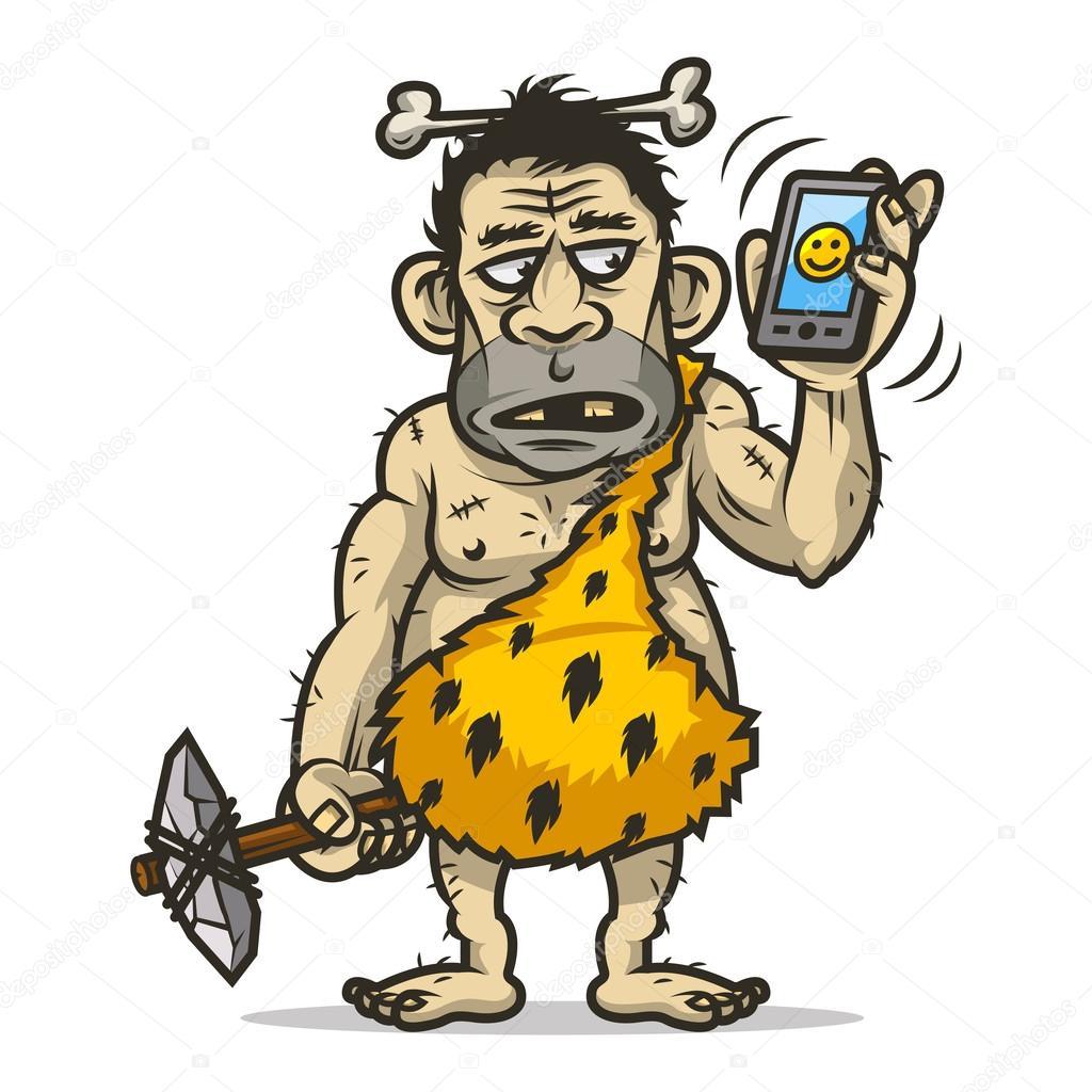 Neandertaler hält Handy in der Hand — Stockvektor