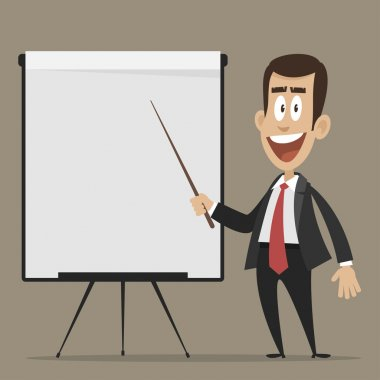 Cheerful businessman points to flipchart