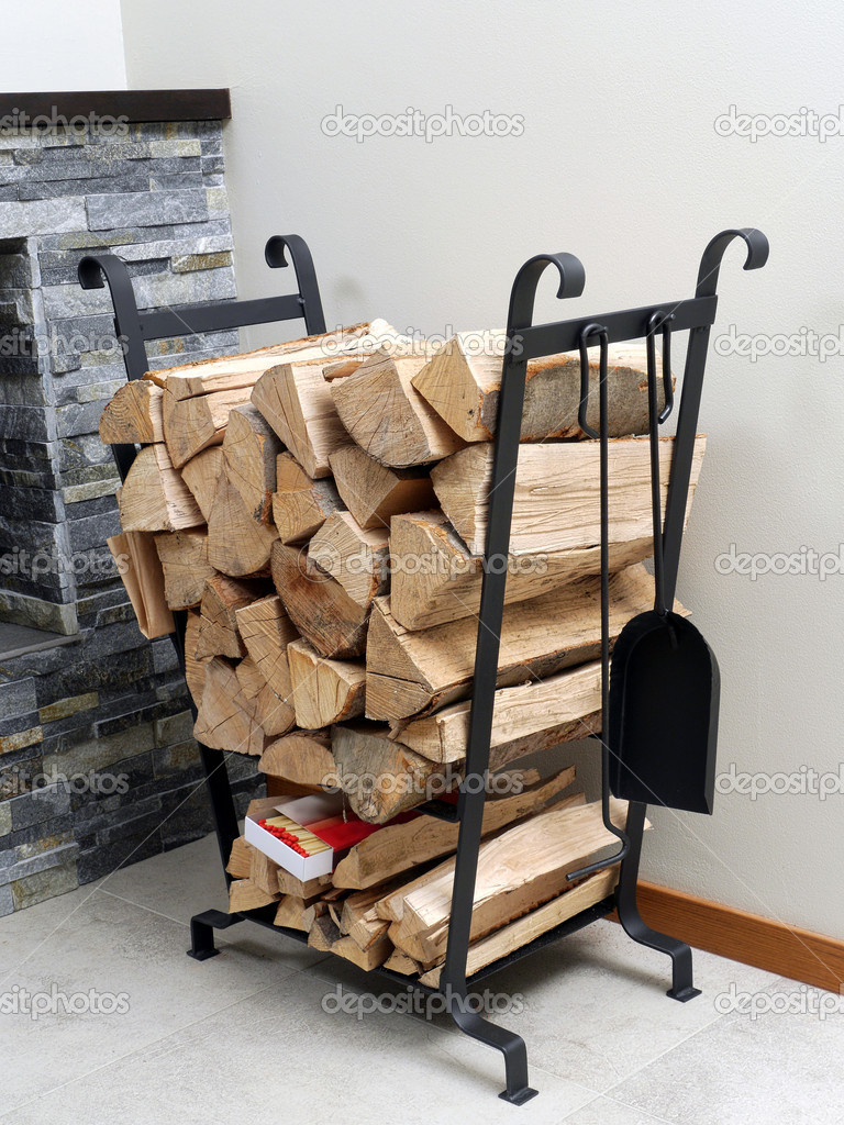 Firewood on metal stand