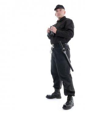 Security man wearing black uniform standing with binoculars, shot on white stock vector