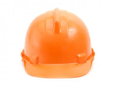 Orange safety helmet over white background stock vector