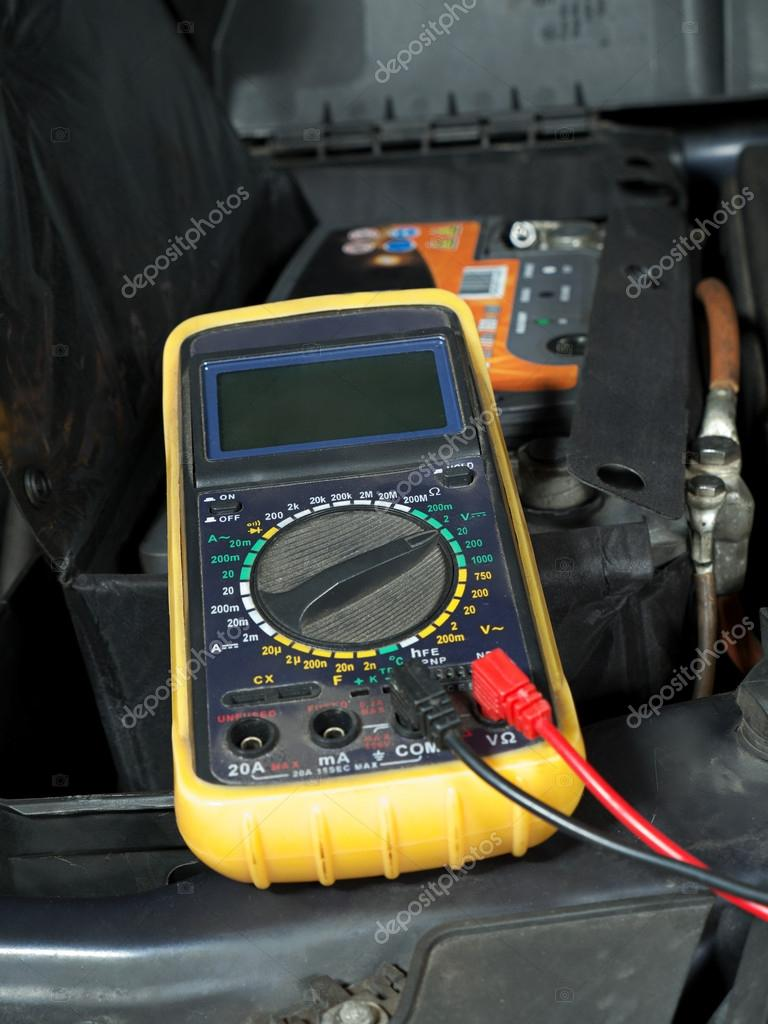Car Battery Voltage Checking Stock Photo Pryzmat 39229069 Multimeter Wiring Set Up And Ready For Taking Measurement By