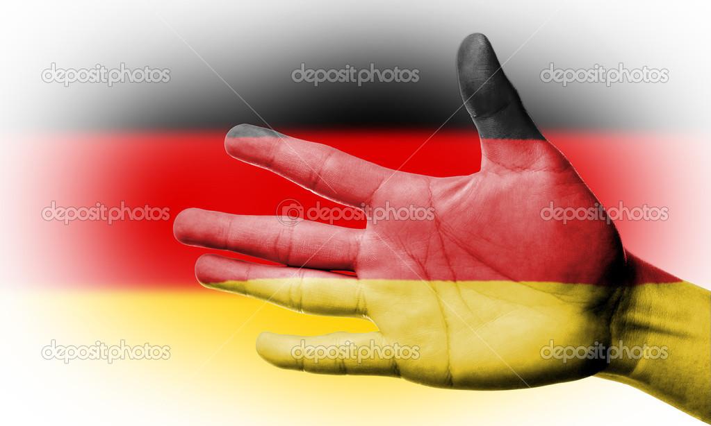 El Ile Alman Bayrağı Boyama Ile Fan Tezahürat Stok Foto Hin255