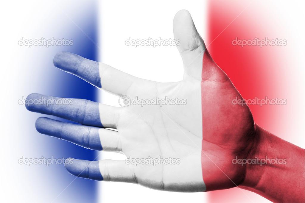 Fransa Bayrağı Boyama Ile Fan Tezahürat Stok Foto Hin255 32296325