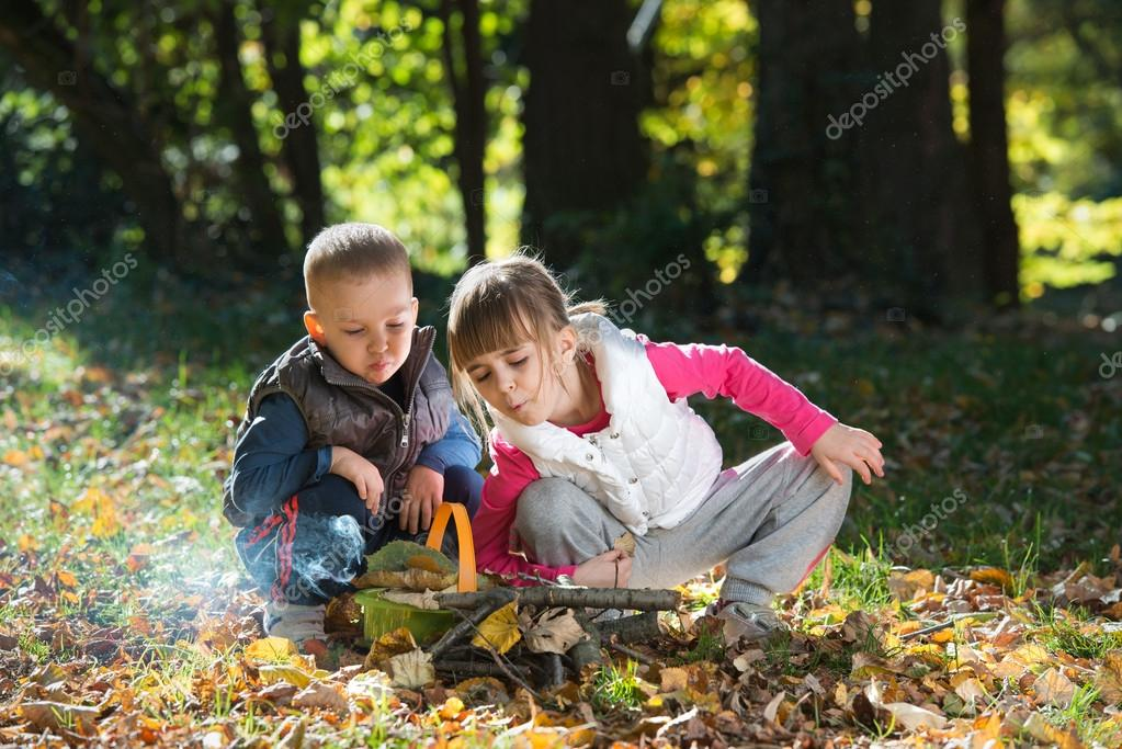 little kids in nature