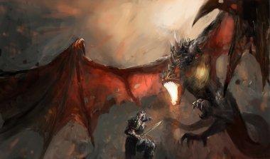 Fantasy scene knight fighting dragon stock vector