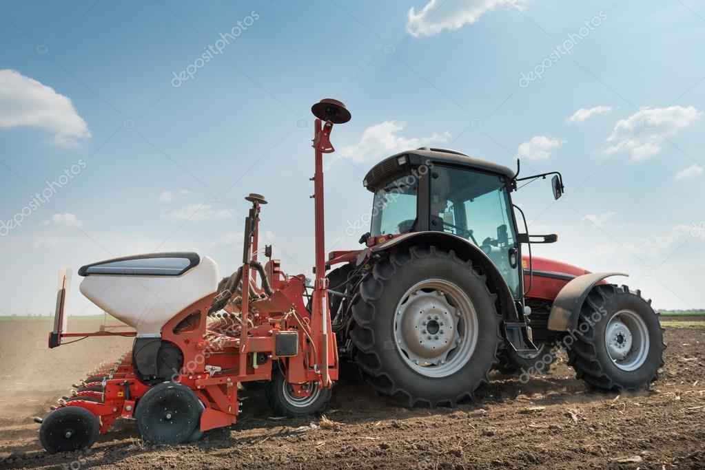 tractor and seeder