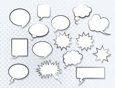 Set of comic speech bubbles. Vector image. clip art vector