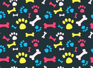 Cool pet background with dog paw prints and bones. Vector seamless texture. clip art vector