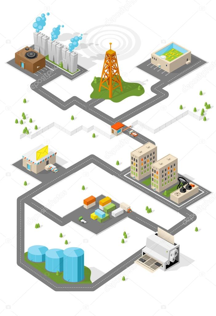 City. Isometric buildings. Vector.
