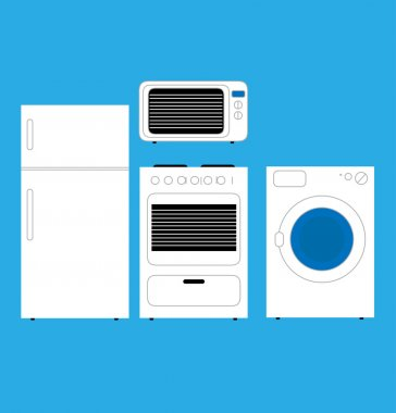 Home appliances in minimalist style. Vector.