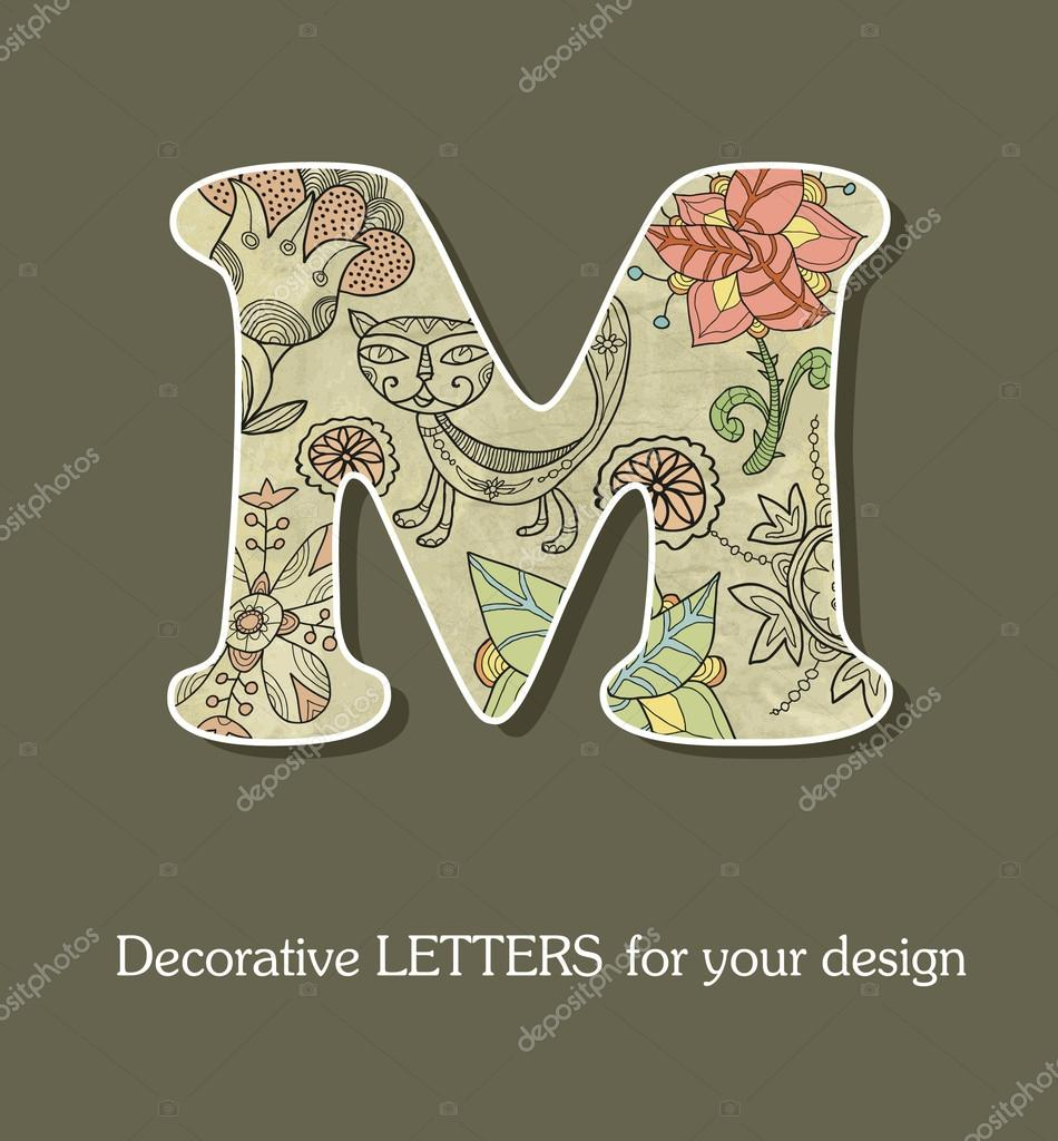 Decorative Letters Decorative Letters Font With Flowers And Birds Stock Vector