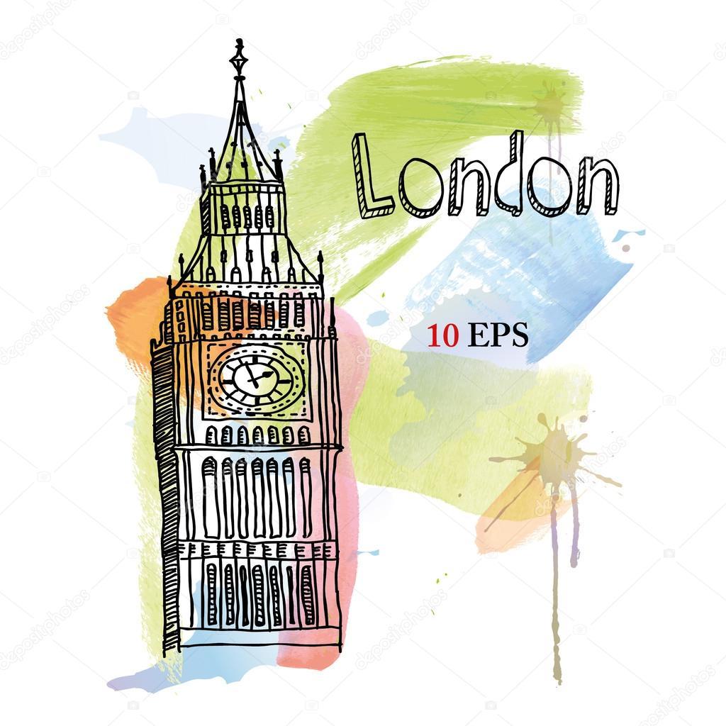 Лондон биг бен рисунки