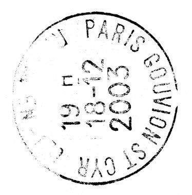 paris, postage stamp isolated on white