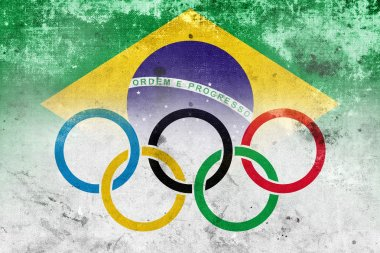 Grunge Olympic Flag and Brazil Flag
