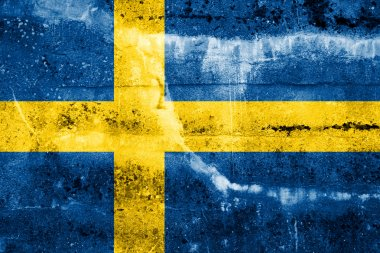 Sweden Flag painted on grunge wall