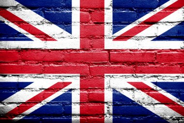UK Flag painted on old brick wall