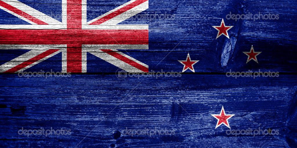 Neuseeland Flagge gemalt auf alten Holz Plank textur ...