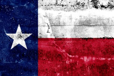 Texas State Flag painted on grunge wall