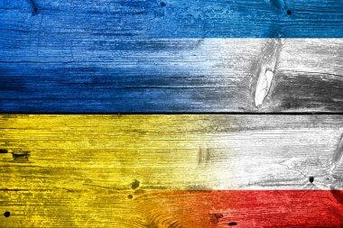 Autonomous Republic of Crimea and Ukraine Flag painted on old wood plank texture