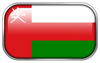 Oman Flag rectangle glossy button