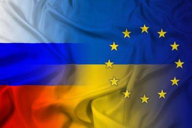 Waving Ukraine, EU and Russia Flag
