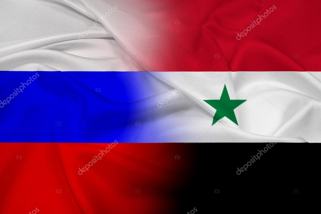 Waving Russia And Syria Flag Stock Photo PromesaStudio - Syria flag