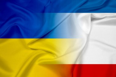 Waving Autonomous Republic of Crimea and Ukraine Flag