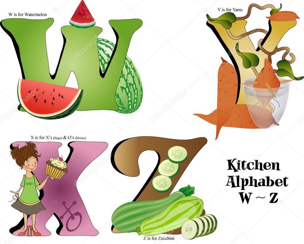 Kitchen Alphabet W thru Z — Stock Vector © CandyWrap #12097495