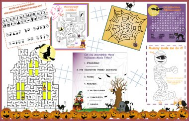 Placemat Halloween Printable Activity Sheet 1