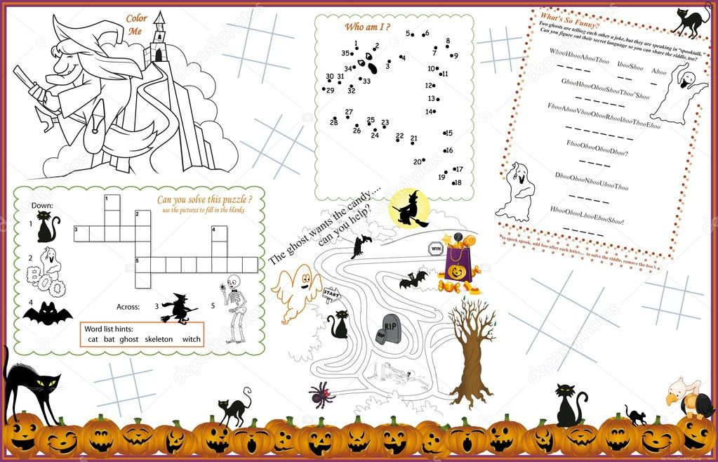 Stock Illustration Placemat Halloween Printable Activity Sheet on File Maze Type Standard