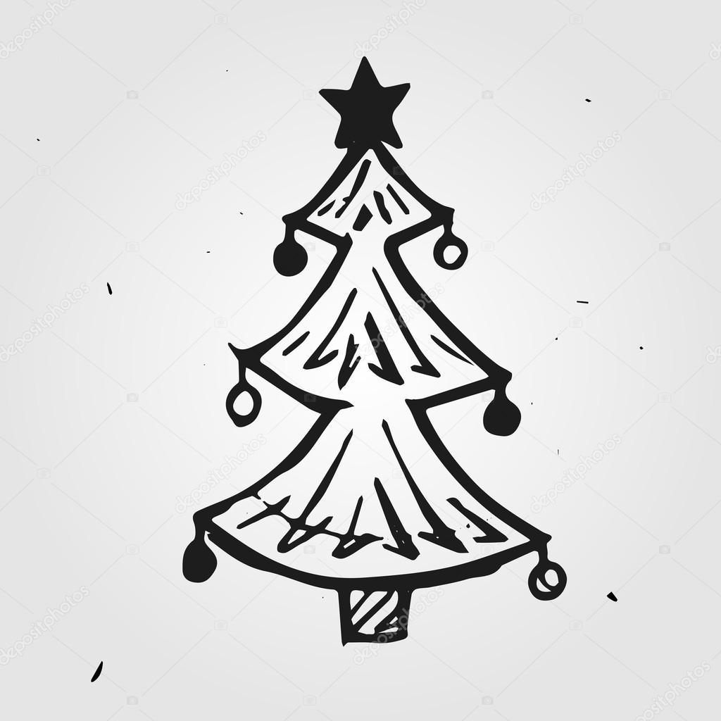 weihnachtsbaum hand gezeichnet stockvektor dimgroshev. Black Bedroom Furniture Sets. Home Design Ideas