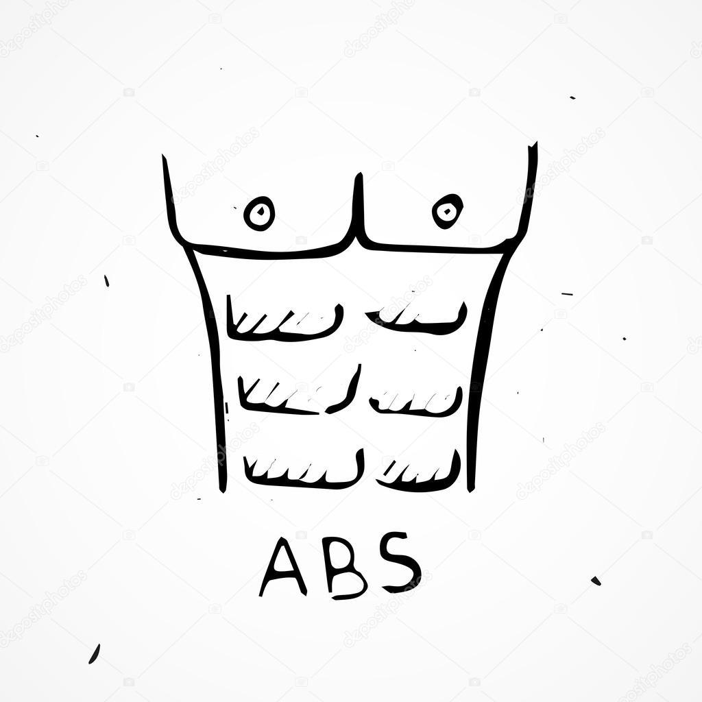 músculos de torso humano dibujado a mano — Archivo Imágenes ...