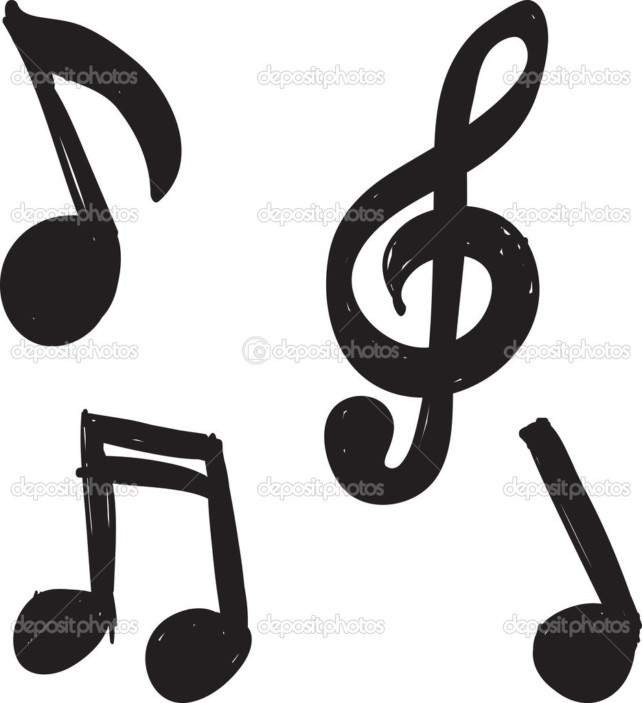 set of hand drawn music notes stock vector dimgroshev 37749085 rh depositphotos com Music Notes Vector Art Free Music Notes SVG