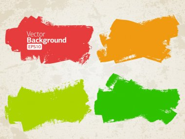 Vector set of grunge colorful brush strokes clip art vector