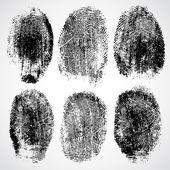 Fotografia set di impronte digitali, illustrazione vettoriale