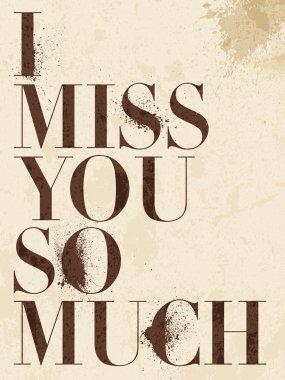 Vintage Miss You, love poster or postcard. Vector illustration. clip art vector