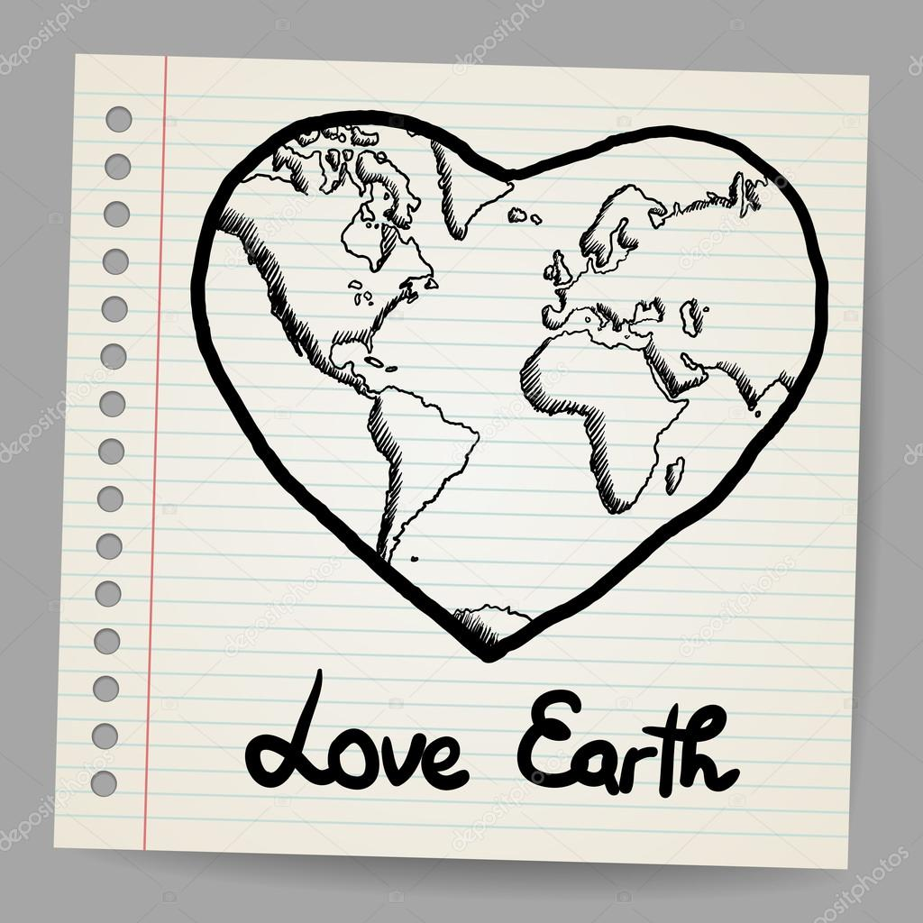 Earth Love doodle vector