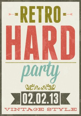 Retro party vector typography poster illustration