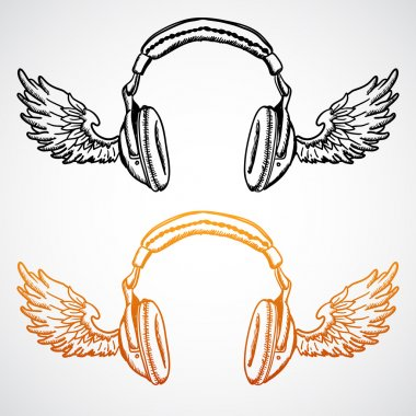 Vector concept illustration. Headphones with wings